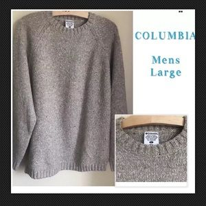 COLUMBIA Sweater Wool Blend Knit Pullover Crew L